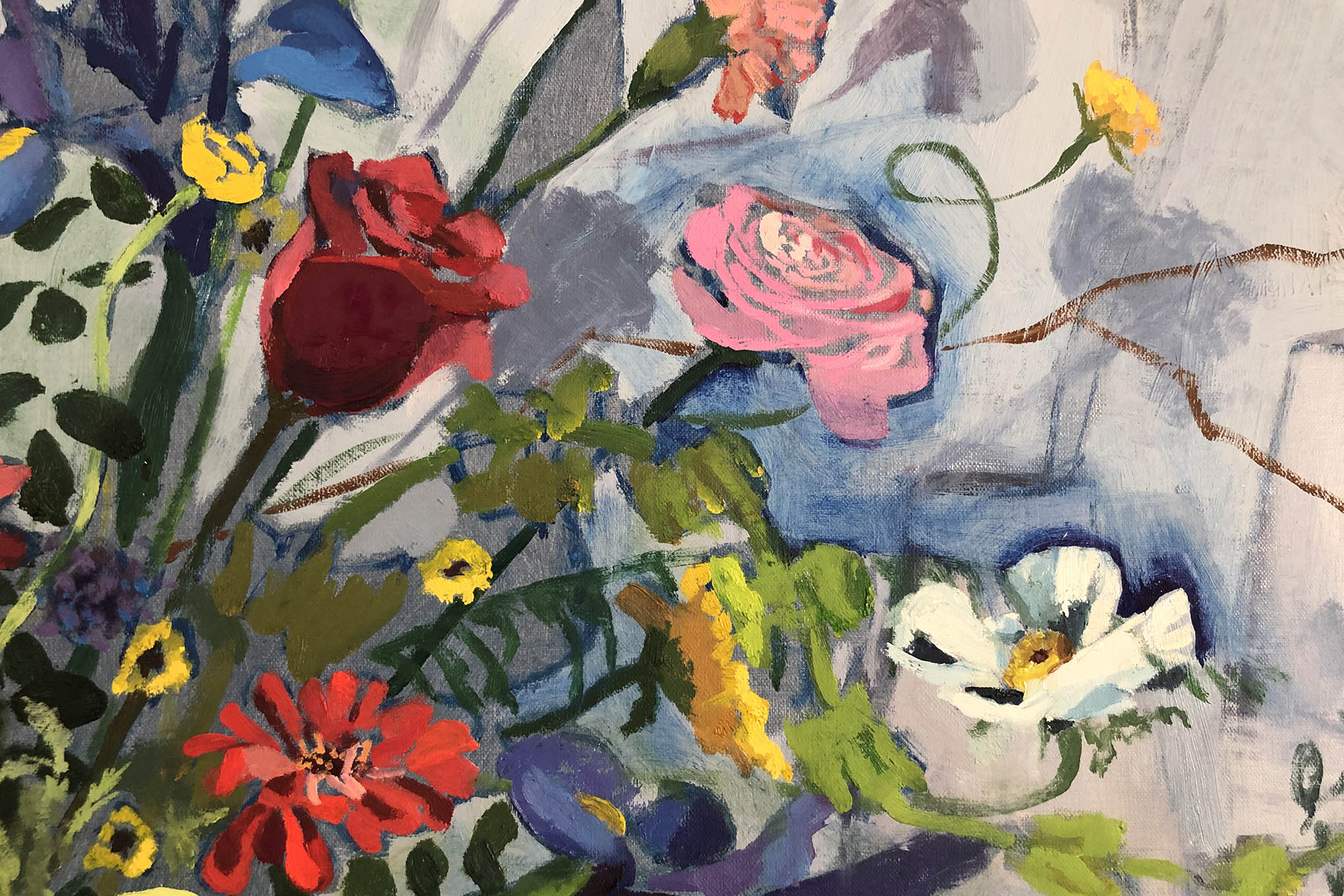 Close up of release painting of the flowers