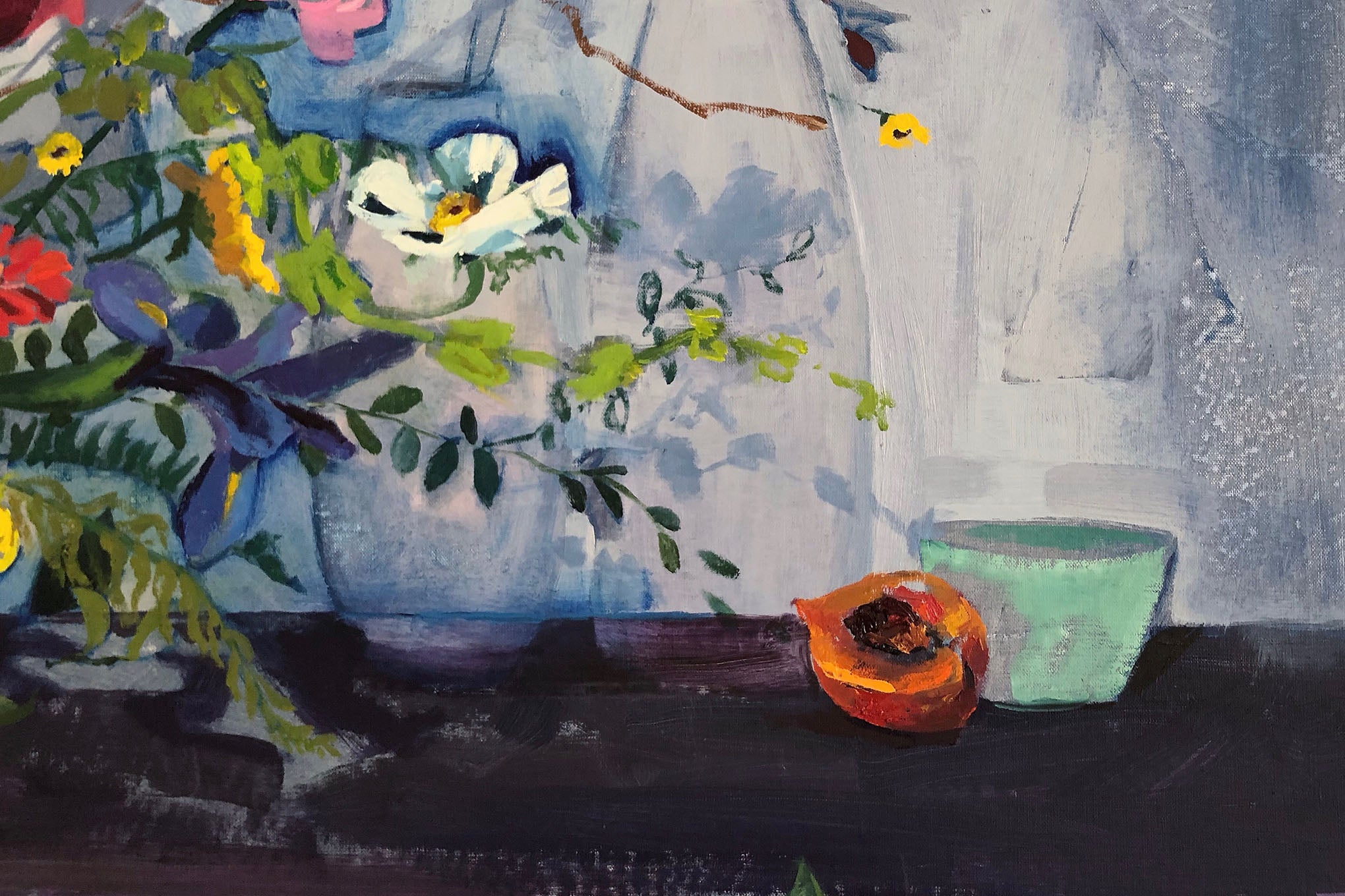 Close up of release painting of a bowl and apricot