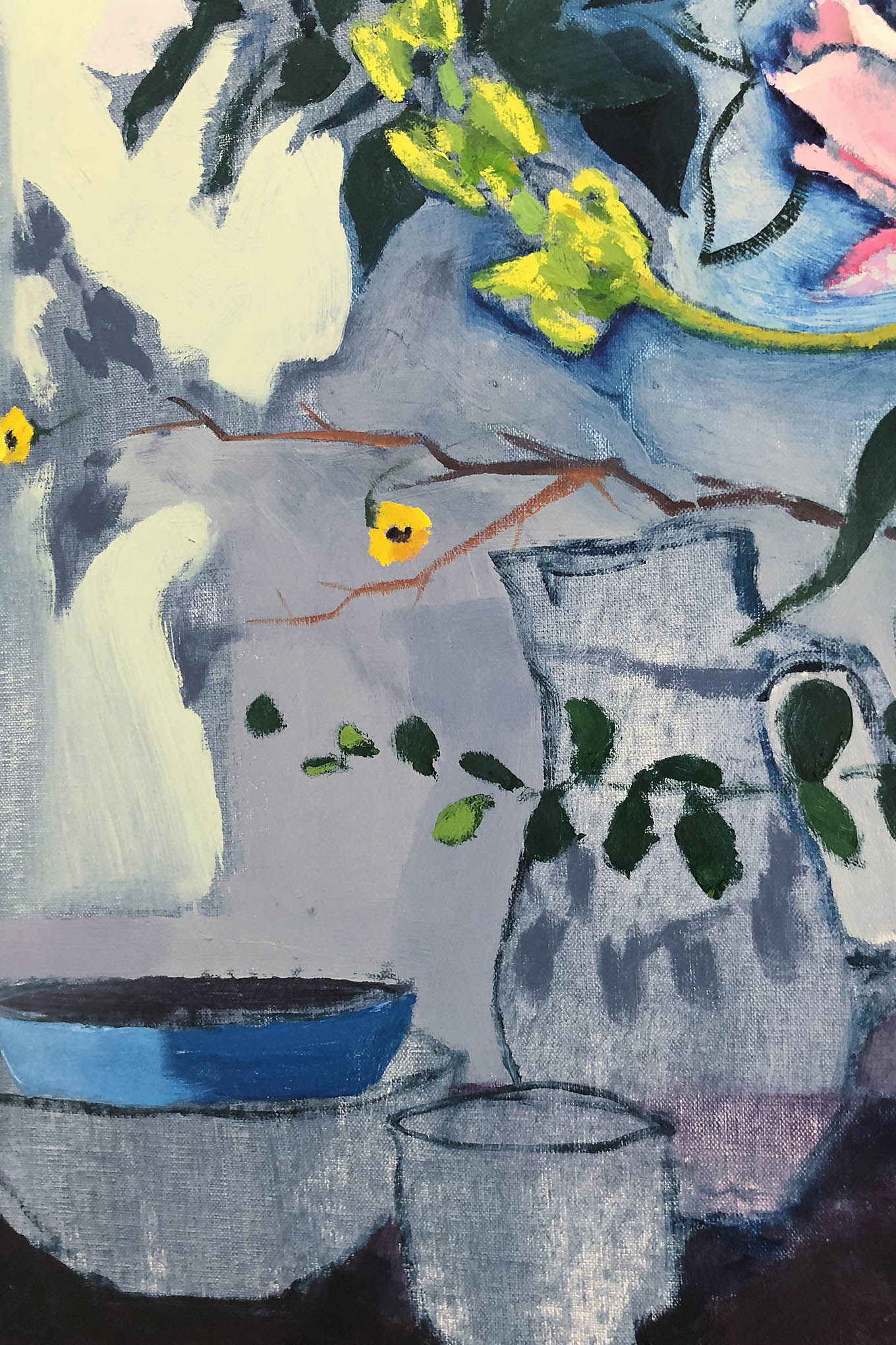 Close up of release painting of vases and bowl