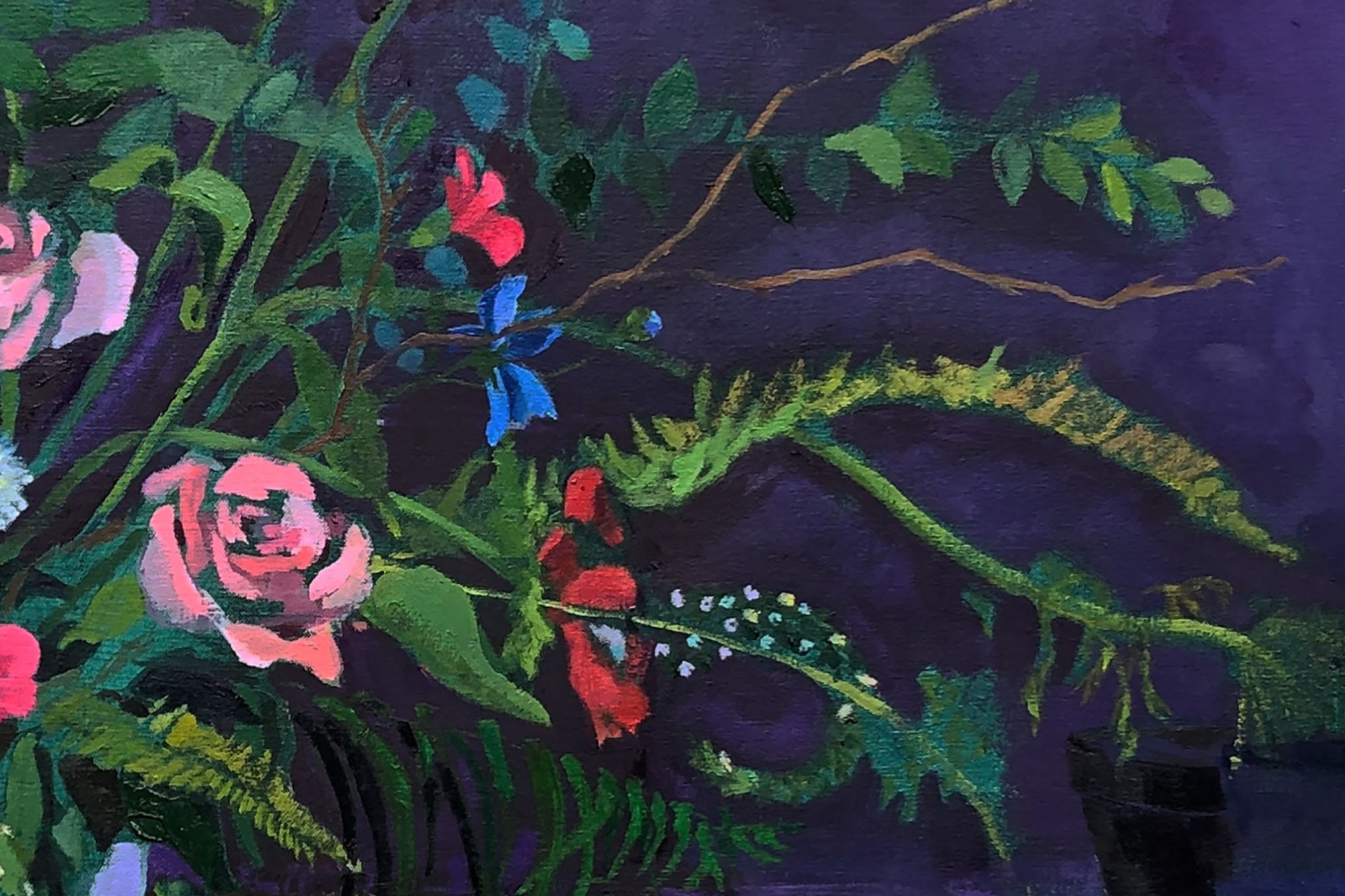 Close up of ripe painting of flowers