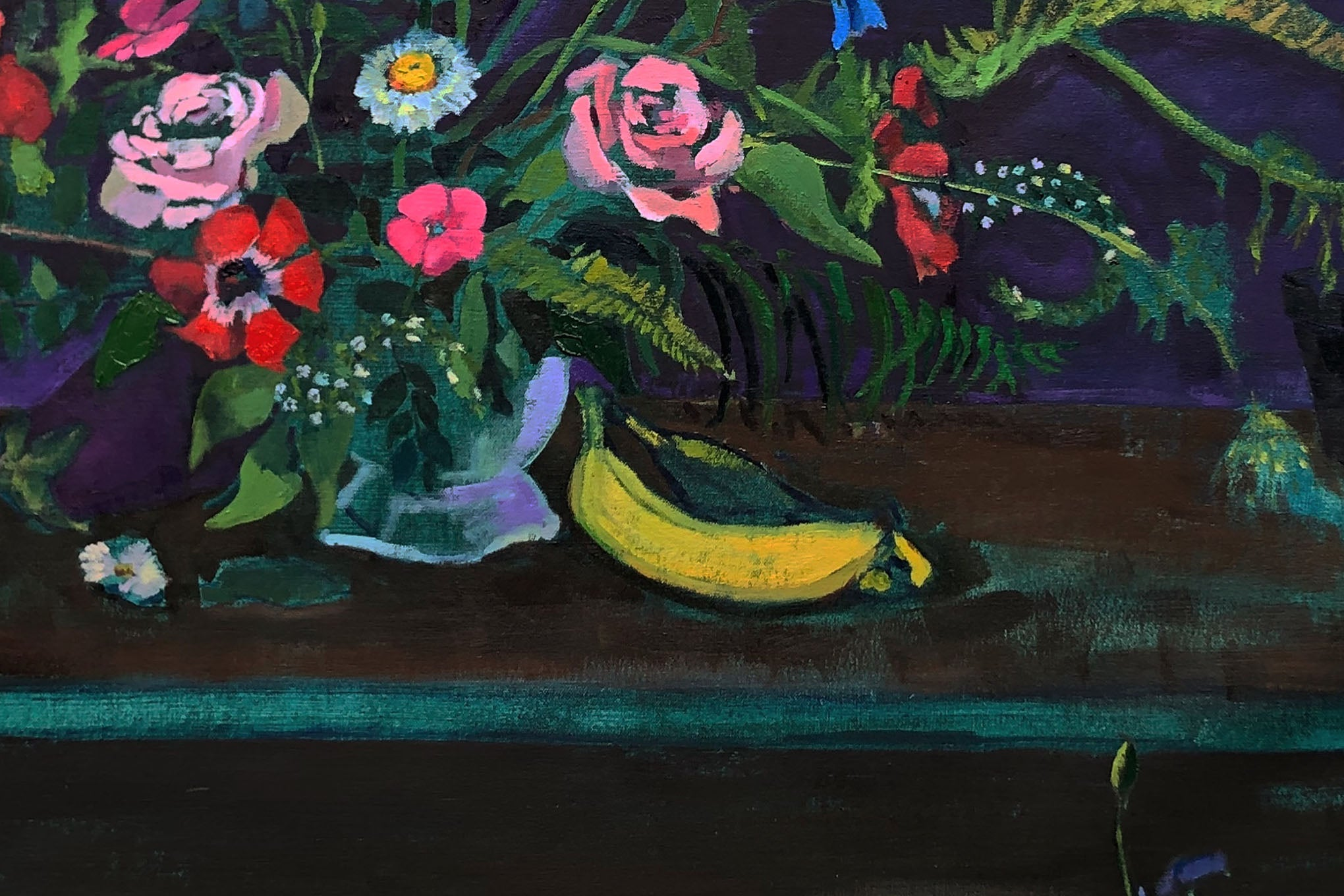 Close up of bananas in the ripe painting