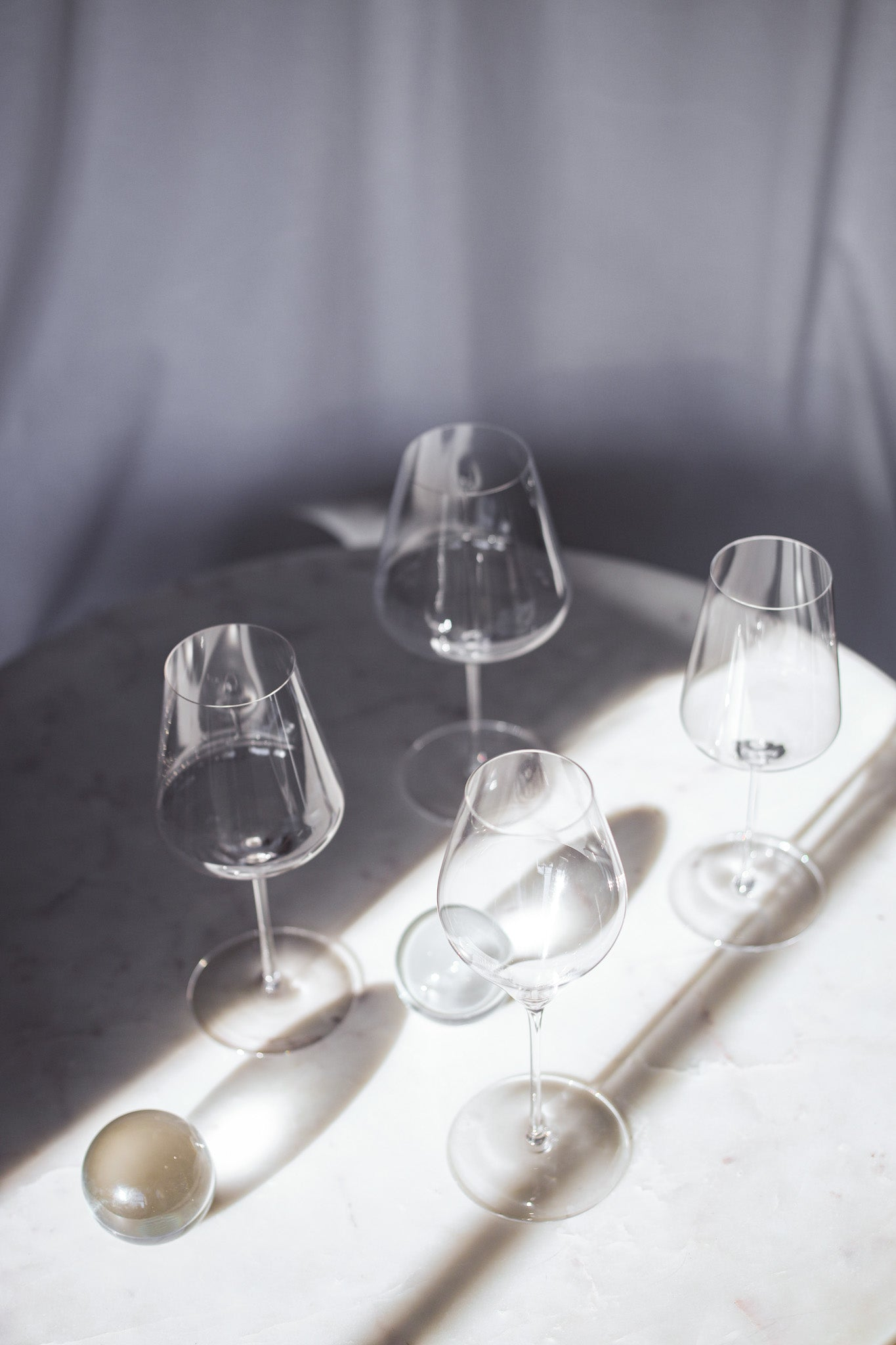 Four empyty wine glasses