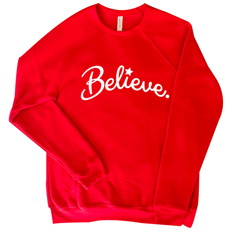 RED COTTON FLEECE COMFY HOLIDAY  FESTIVE SWEATSHIRT  BELIEVE