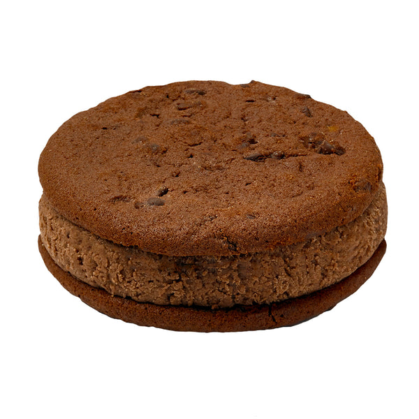 Double Dark Chocolate Ice Cream on Fudge Chip Cookie Sandwich