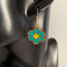 Load image into Gallery viewer, Turquoise Beaded Flower Earrings