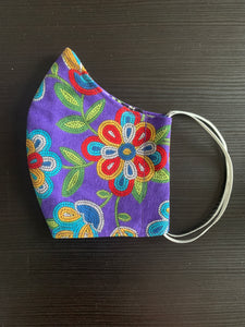 Purple Face Mask with Beaded Patten