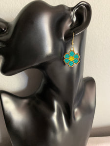 Turquoise Beaded Flower Earrings