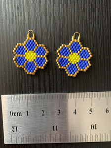 Royal Blue Beaded Flower Earrings