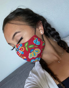 Red Face Mask with Beaded Pattern