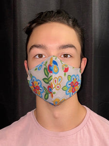 Grey Face Mask with Beaded Pattern