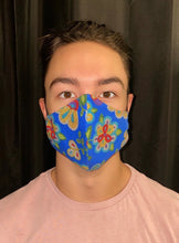 Load image into Gallery viewer, Royal Blue Face Mask with Beaded Pattern