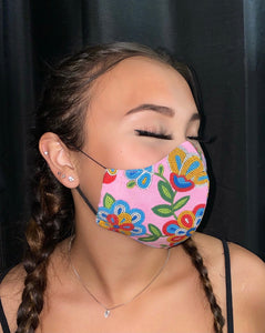 Pink Face Mask with Beaded Pattern