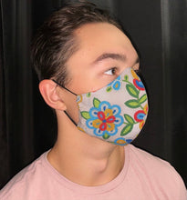 Load image into Gallery viewer, Grey Face Mask with Beaded Pattern