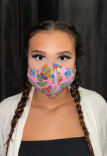 Load image into Gallery viewer, Pink Face Mask with Beaded Pattern