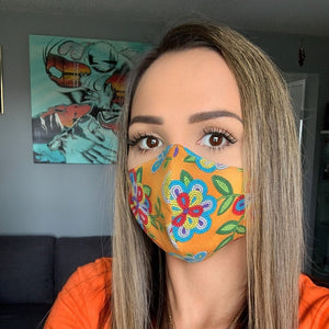Tan Face Mask with Beaded Pattern