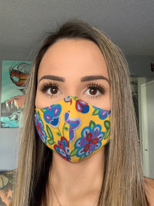 Yellow Face Mask with Beaded Pattern