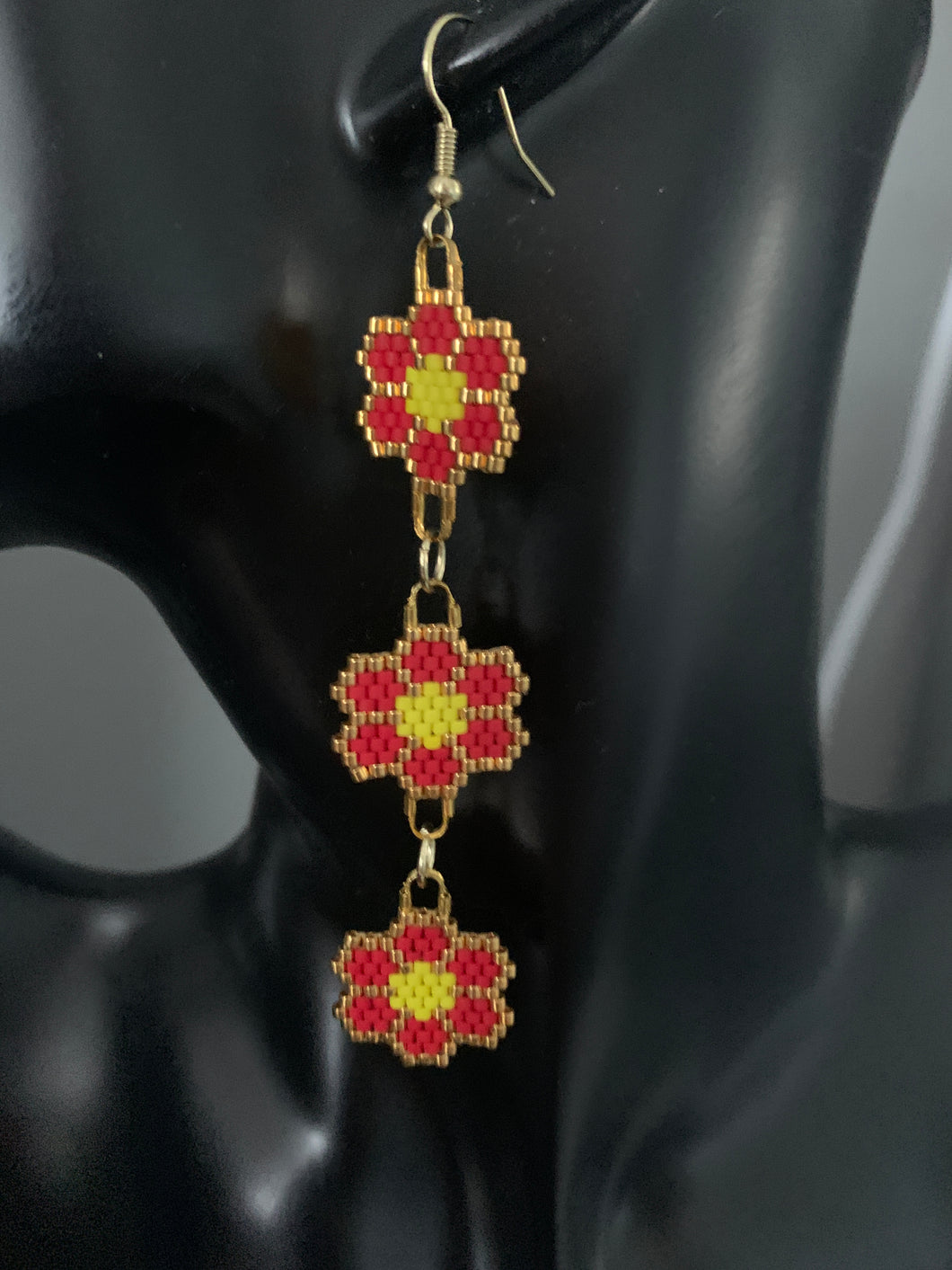 Beaded Dangly Flower Earrings