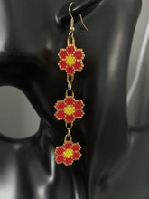 Load image into Gallery viewer, Beaded Dangly Flower Earrings