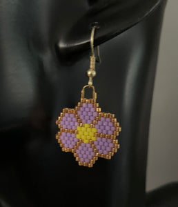 Light Purple Beaded Flower Earrings