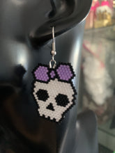Load image into Gallery viewer, Beaded Skull Earring Purple Bow