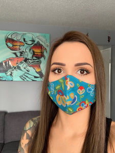 Turquoise Face Mask with Beaded Pattern