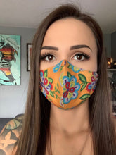 Load image into Gallery viewer, Tan Face Mask with Beaded Pattern