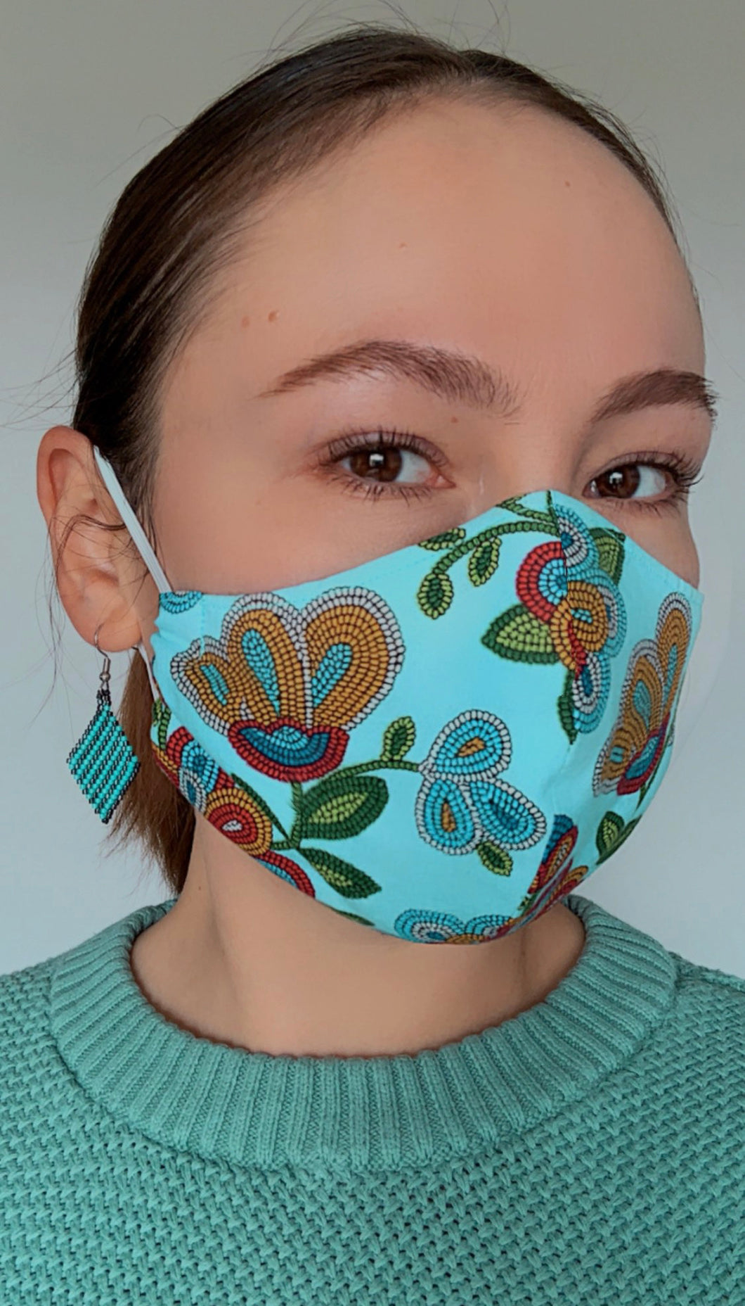 Light Blue Face Mask with Beaded Pattern