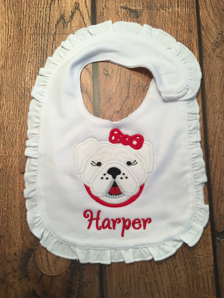 White Ruffle Bib with Applique