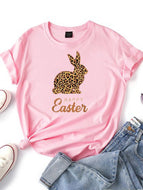 Ladies Easter Bunny Print Short Sleeve T-shirt