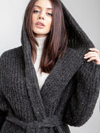 Long Hooded Cardigan Hand Knitted Belt Sweater Coat
