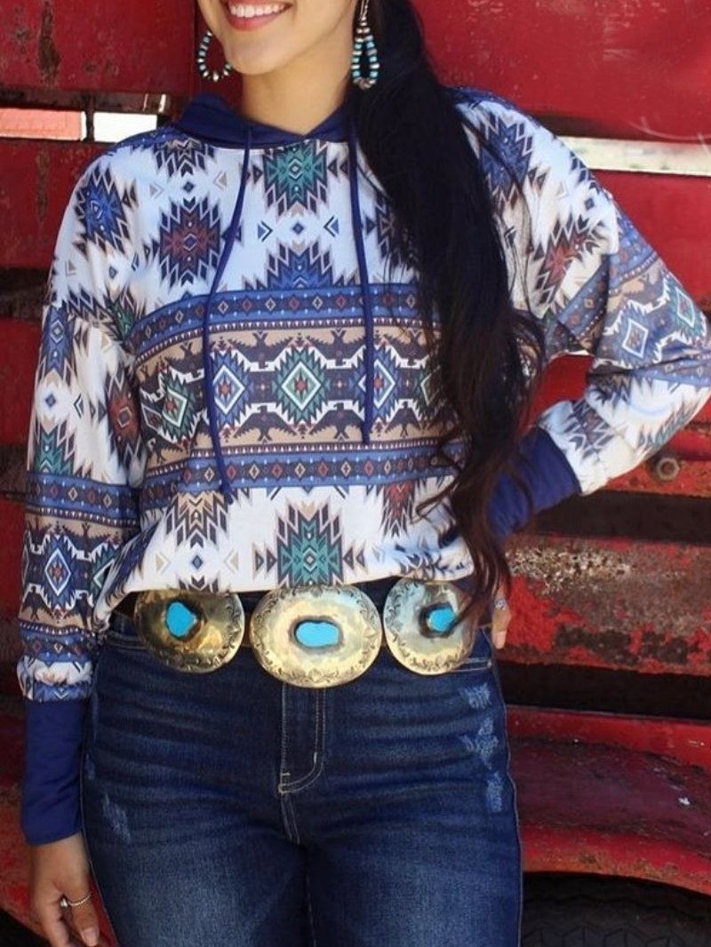 Hooded Vintage Print Long Sleeve Top