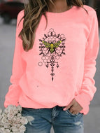 Bee Geometric Print Crew Neck Sweatshirt