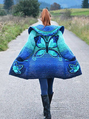 Gradient Butterfly Print Sweater Coat