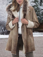 Vintage Hooded Fur Collar Long Sleeve Loose Coat