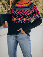 Fashion Contrast Bohemian Sweater