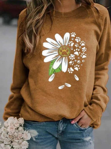 Printed Casual Long Sleeve Sweater