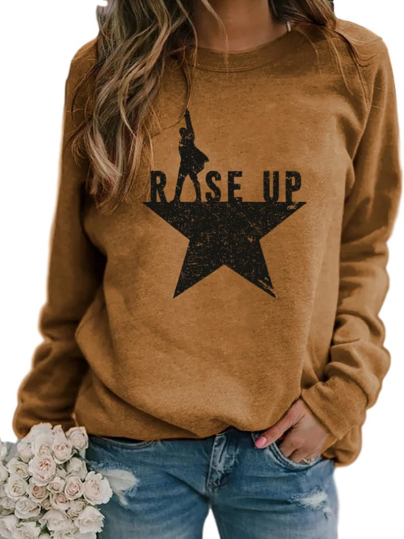 RiSe Up Letter Print Round Neck Long Sleeve T-shirt