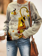 Autumn Long Sleeve Women's Halloween Printed Crew Neck