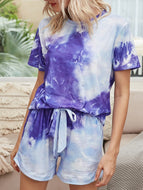 Short Sleeve Gradient Drawstring Suit