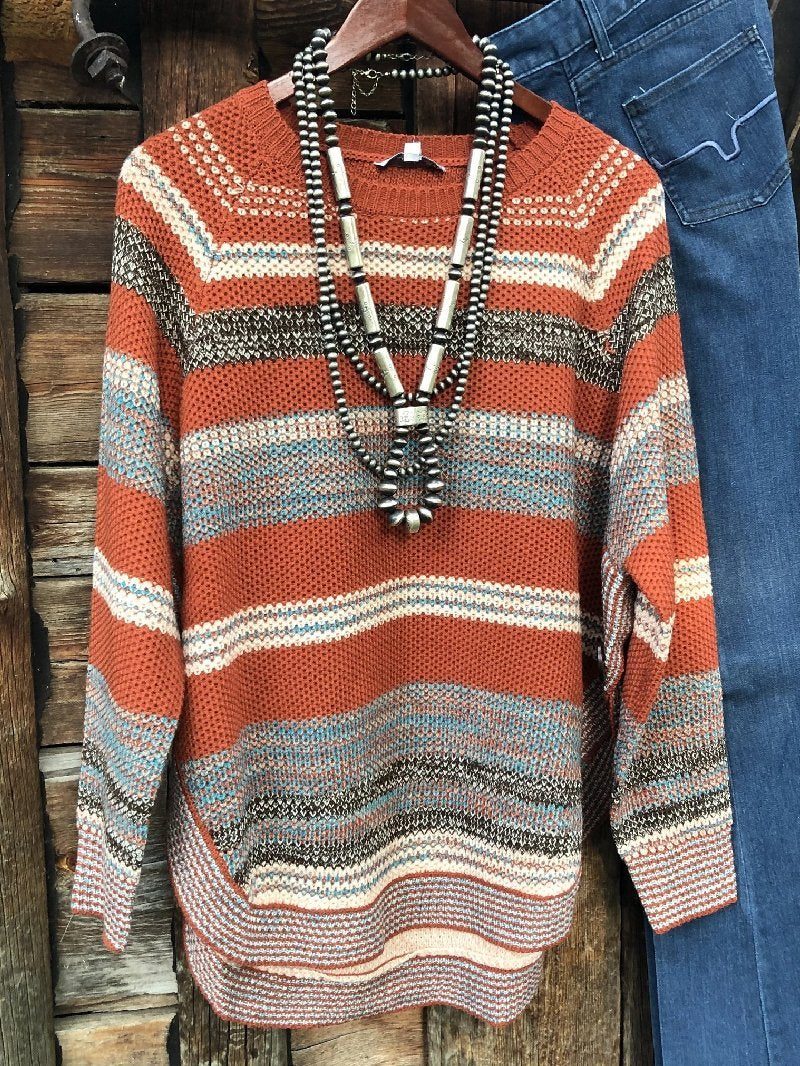 Vintage Round Neck Long Sleeve Sweater