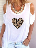 Women's Solid Color Leopard Print Heart Strapless Short-sleeved Top