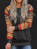Casual Striped Print Crew Neck T-shirt