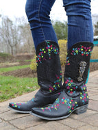 Bohemian Western Style Floral Embroidered Mid-calf Leather Boots