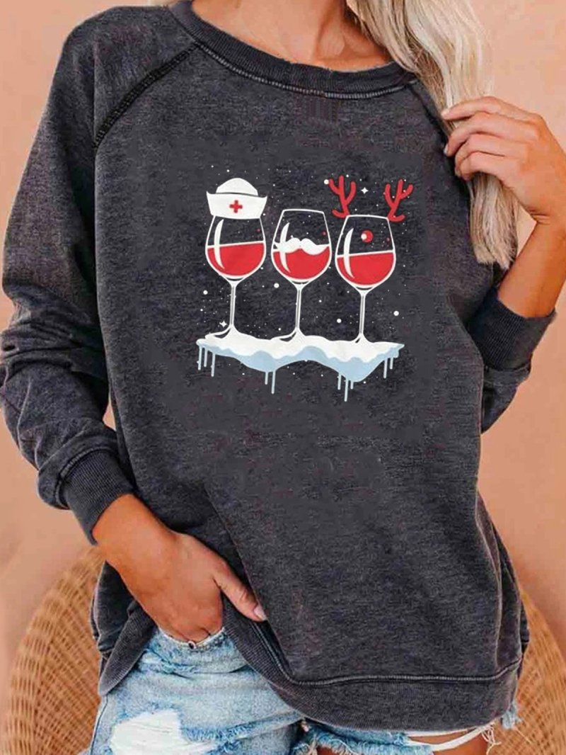 Autumn Winter Wine Glass Print Long-sleeved Loose Christmas Sweatshirt
