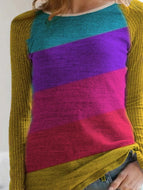 Multicolor Long Sleeve Slim Sweater Round Neck Winter 2020