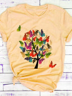 Colorful Butterfly Tree Short-sleeved Printed T-shirt