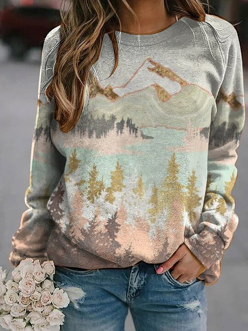 Plus Size Women's mountain treetop print long sleeve Sweatshirt