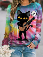 Casual Cat Tie-dye Print Long Sleeve Sweatshirt