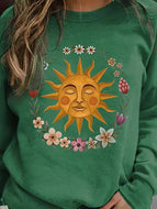 Women's Long Sleeve T-shirt with Sun Printed Collar