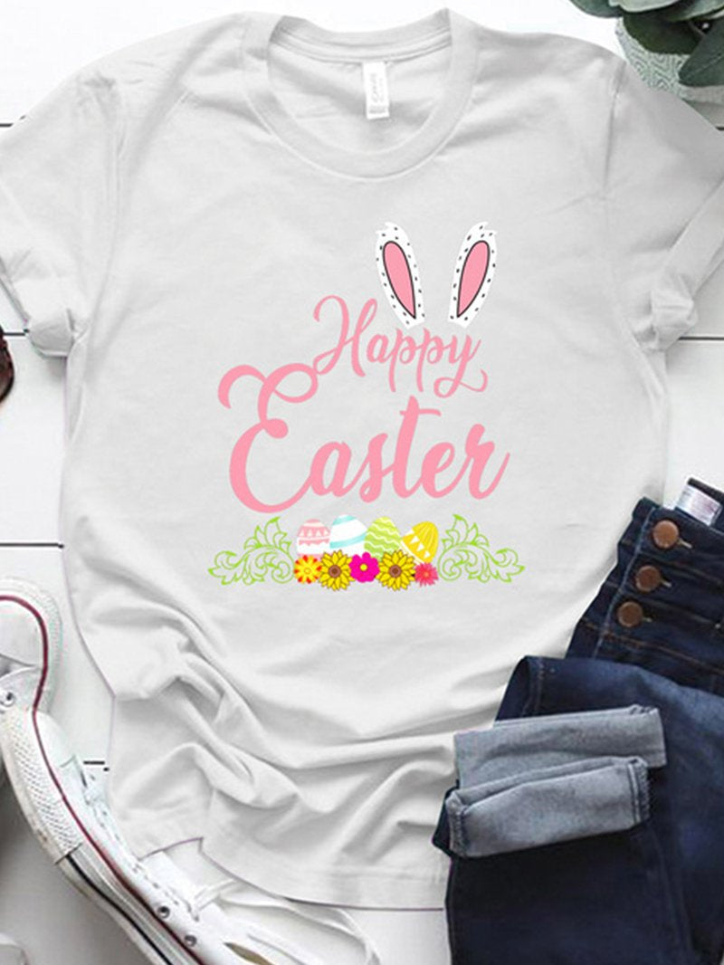 Ladies Easter Cartoon Bunny Egg Print Short-sleeved T-shirt
